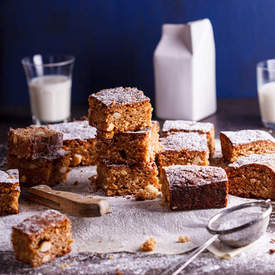 Blondies with coconut, white chocolate and almonds
