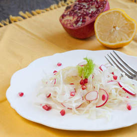 Fennel salad with radish and pomegranate