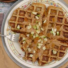 Peanut Butter Apple Raisin Waffles w/ Chia Seeds