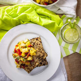 Grilled Jerk Tofu with Pineapple-Mango Salsa