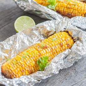 Corn on the cob roasted in the oven