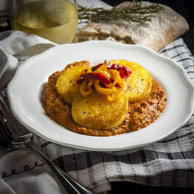 Polenta with Pepperoni & Roasted Red Pepper Sauce