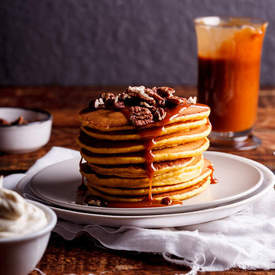 Pumpkin pancakes with salted caramel