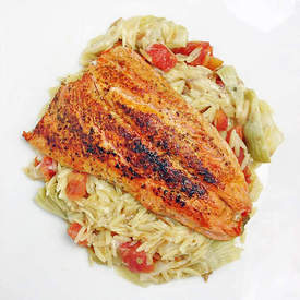 Salmon Orzo Over Risotto