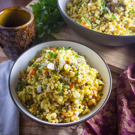 Curried Israeli Couscous with Roasted Cauliflower
