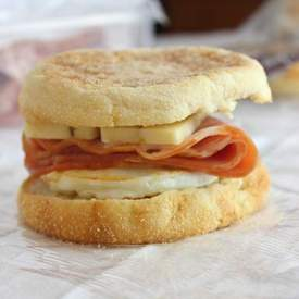 Ham and Pepper Jack Breakfast Sandwiches