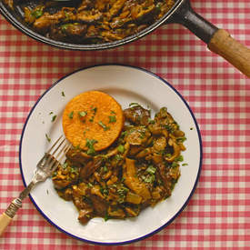 mushroom fricassee with butternut squash fondant