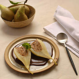 almond stuffed pears with chocolate sauce