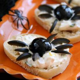 Smoked Trout Pate Spider Bites for Halloween