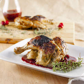 Cornish Game Hen with Cranberry Thyme Sauce
