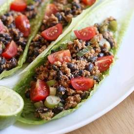 Black bean and walnut lettuce wraps