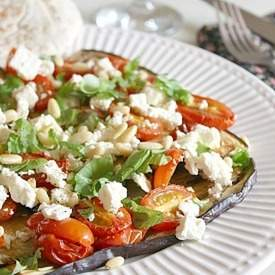 Roasted tomato and aubergine salad