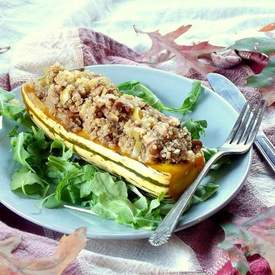 Roasted Apple and Quinoa Stuffed Delicata Squash