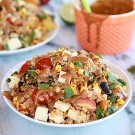 BBQ Grilled Corn, Jalapeño and Peach Quinoa Salad