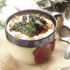 Tuscan Bean Soup with Kale Chips