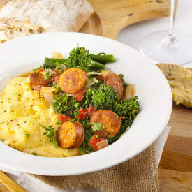 Broccolini and Chicken Sausage over Polenta