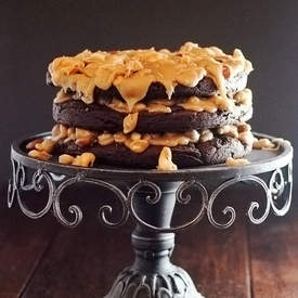 Salted Mixed Nut Praline Brownie Torte