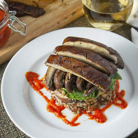 Quinoa & Mushroom Stack with Red Pepper Coulis