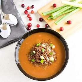 Red quinoa cranberry arugula soup