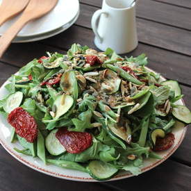 Zucchini, French Bean & Semi-Dried Tomato Salad wi