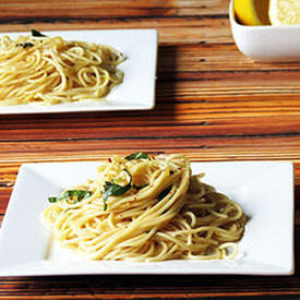 Spaghetti with Light Creamy Lemon Sauce