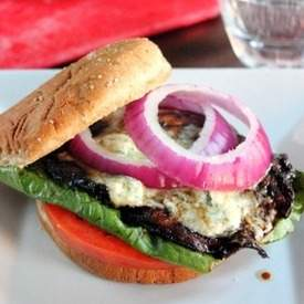 Portobello Mushroom Black and Blue Burger