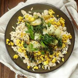 Baby Bok Choy Stir Fry With Tofu Scramble