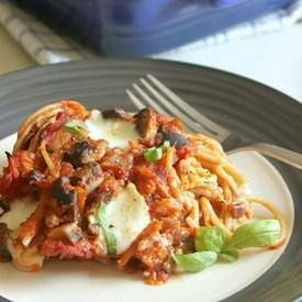 Spaghetti and meatballs casserole
