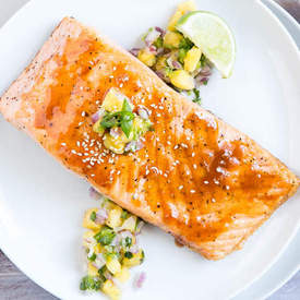 Salmon with Sweet Sriracha Glaze