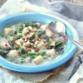 Creamy Vegan Potato Kale Soup with Smoked Almonds