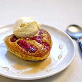 rhubarb tart with star anise ice cream