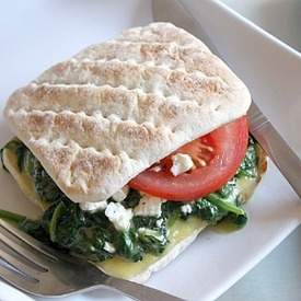 Cheesy spinach and feta sandwich