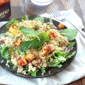 Apricot Mint Couscous with Harissa Baked Tofu