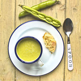 broad bean, spring onion and oregano soup