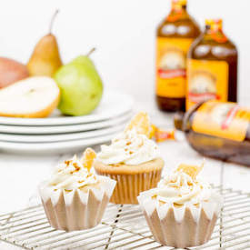 Ginger Beer Cupcakes with Roasted Pear Frosting