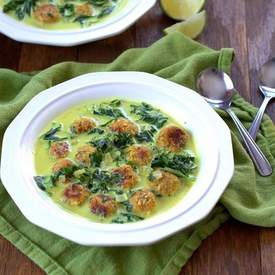 Coconut Curry Kale Chickpea Ball Soup