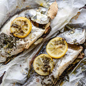 Gilthead sea bream with herbs