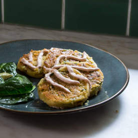 Spinach and Garlic Chickpea Pancakes