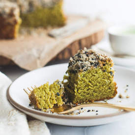 Matcha Cake with Black Sesame Streusel