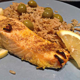 Broiled Salmon with Lemon Garlic Rub