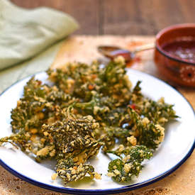 nettle top fritters with chilli dipping sauce