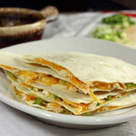 Chicken Quesadillas with Peanut Sauce