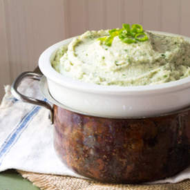 Mashed Celery Root with Blue Cheese and Watercress