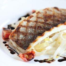 Sea bass balsamic vinegar and chicory