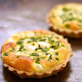 broad bean, feta and chive tarts