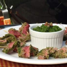 Nicaraguan Style Steak Skewers with Chimichurri