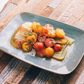 Braised Leeks with Tomato Vinaigrette