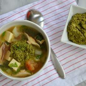 Asian Vegetable Soup with Asian Pesto Sauce