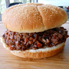 Twice-Smoked Chipped Bison Short Rib Sandwiches