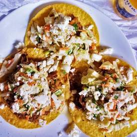 Chipotle Chicken Tostadas with Sweet Slaw